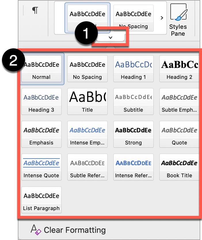 Microsoft Word Styles Pane shows all heading styles.