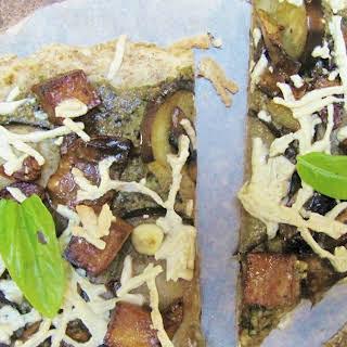 Eggplant, Mushroom & Pesto Pizza.