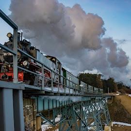 Full speed ahead... by Martin Namesny - Transportation Trains ( railway, pair, steam train, locomotive, bridge, steam )