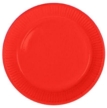 Tallrik, röd, 8st.