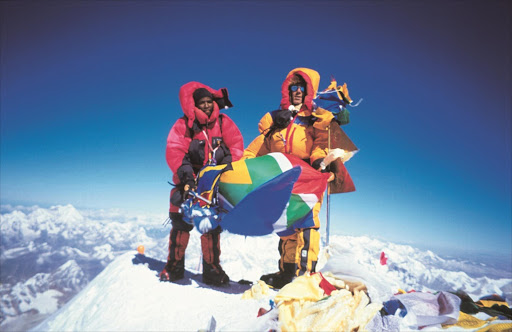 Sibusiso Vilane, left, a game ranger, became the first black African to summit Mount Everest. Seen here with team leader Robert Anderson.