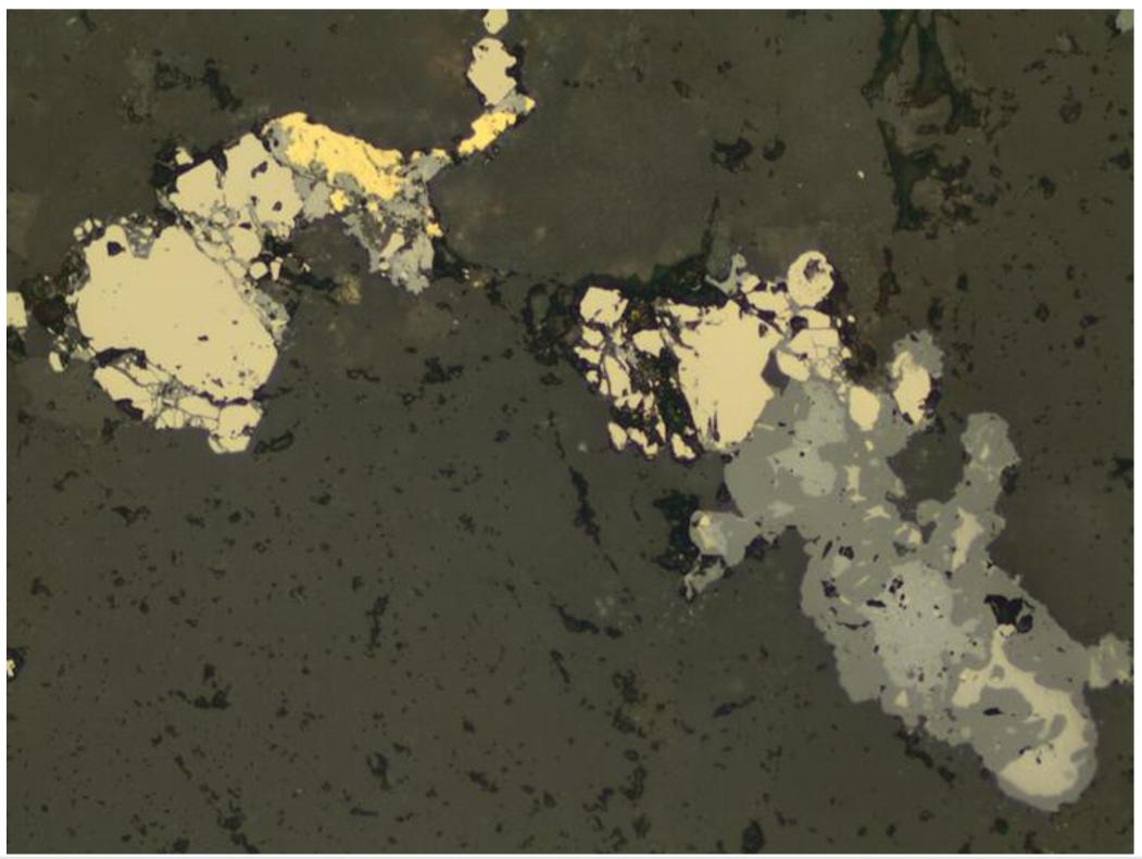 Срастание серебросодержащих минералов с золотом в кварц-полевошпатовой матрице