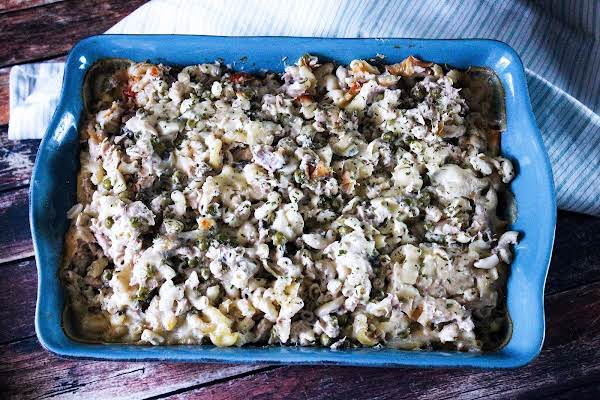 Tuna Casserole Baked Until Cheese Is Golden Brown.