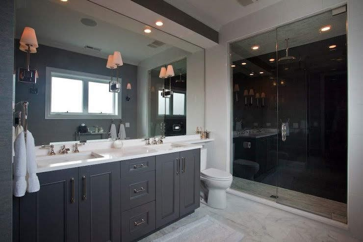 Accent Color For Gray And White Bathroom Modern Dark