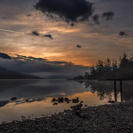 Sunrise At Bohinj by Jaro Miščevič - Landscapes Sunsets & Sunrises ( clouds, foggy, mountain, sky, trees, reflections, lake, beach, landscape, colours )