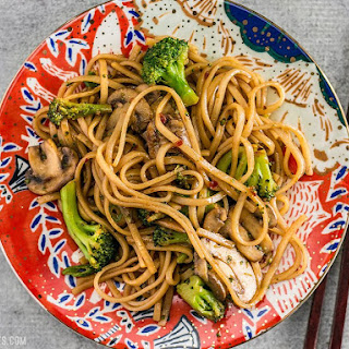 Simple Mushroom Broccoli Stir Fry Noodles Recipe