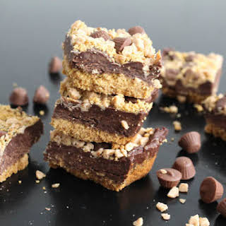 Chocolate Fudge Bars with Toffee Bits and Peanut Butter Cups.