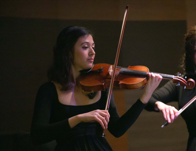 Anna Vosbigian, violinist with Lincoln Center Stage, performs on ms Oosterdam.