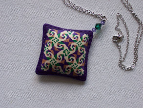 "Photo: PCC- 106 Necklace. Polymer Clay quilt cane pin. 2 1/8"" x 2 1/8"" with a sterling silver 24"" chain. $59.00"