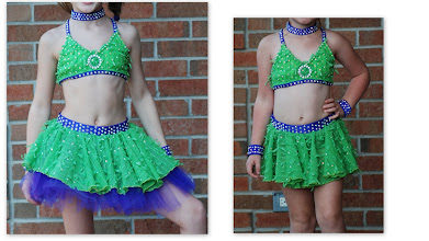 Photo: Custom Made!To buy (ADC- Party Girl) email Pam@Act2DanceCostumes.com Copy/past photo into email.  $100.00 qty (1) Size: Small/Med Child  Over 8 gross of rhinestones!!  Lime green and purple two piece costume LOADED with rhinestones. Half top and skirt with tutu and built in booty shorts. Top, skirt, shorts, choker and wrist bands.  7 day returns same condition! Paypal/Credit/Western Union accepted. US shipping $10 plus 3% paypal fee for costumes over $100Contact for world wide shipping quote