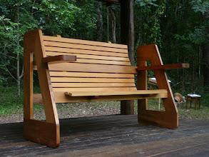 Photo: Verandah seat in situ Tasmanian Blackwood John Elkins