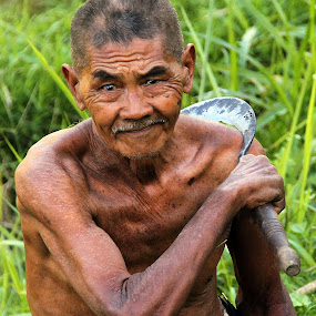 Bali Farmer by Wah Yuen Lau - People Portraits of Men ( bali, farmer, old man, padi field, man,  )