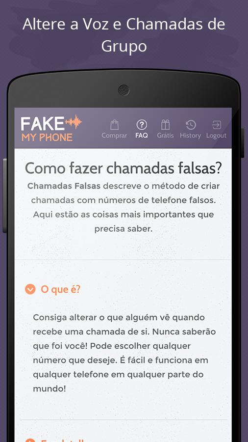 Telefone Falso: captura de tela