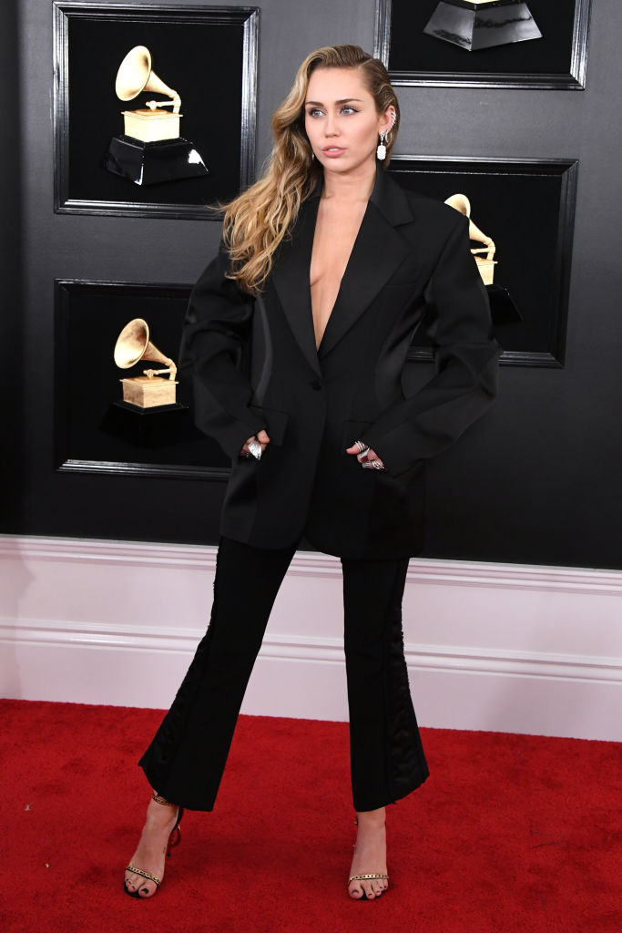 Miley Cyrus on the red carpet at the 2019 Grammy Awards.