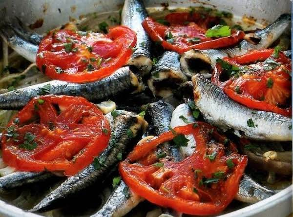 Baked Anchovies With Tomatoes Recipe