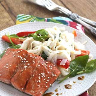 Honey Coated Salmon with Spinach and Noodles.