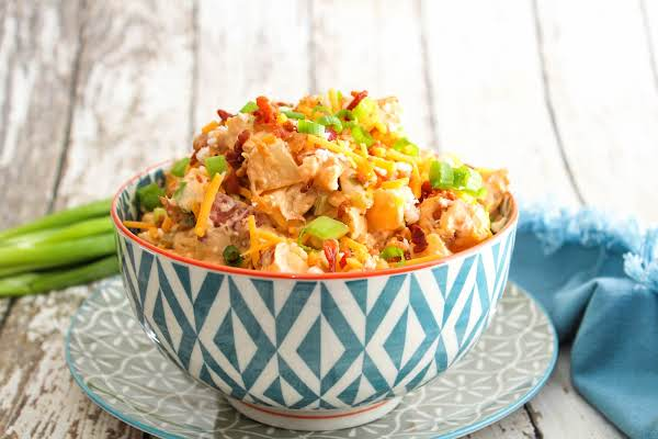 Loaded Buffalo Chicken Baked Potato Salad In A Bowl.