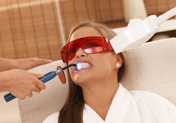 Lady Receiving Teeth-Whitening Treatment