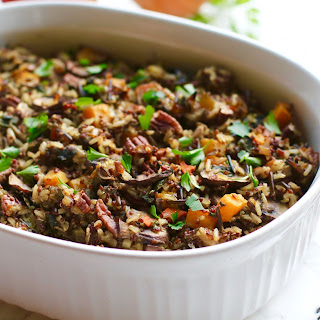 Wild Rice & Quinoa Mushroom Stuffing with Butternut Squash & Apples
