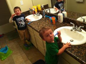 Photo: Two Boys Brushing Teeth!