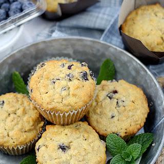 Moist Oatmeal Blueberry Muffins.