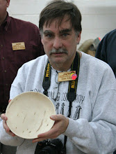 Photo: Tim shares his bowl that he rough turned at the Renwick Gallery and has now re-turned and it is awaiting finish.