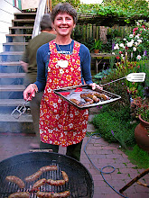 Photo: Sally grilling sour sausage 2