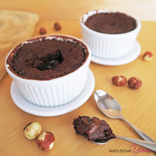 "Microwave ""Nutella"" Molten Lava Cake For Two (Low Carb, Gluten-free)"