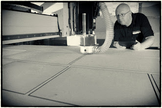 Photo: Fred and one of the CNC's we use to create the different shapes and designs that the chalkboard range now has