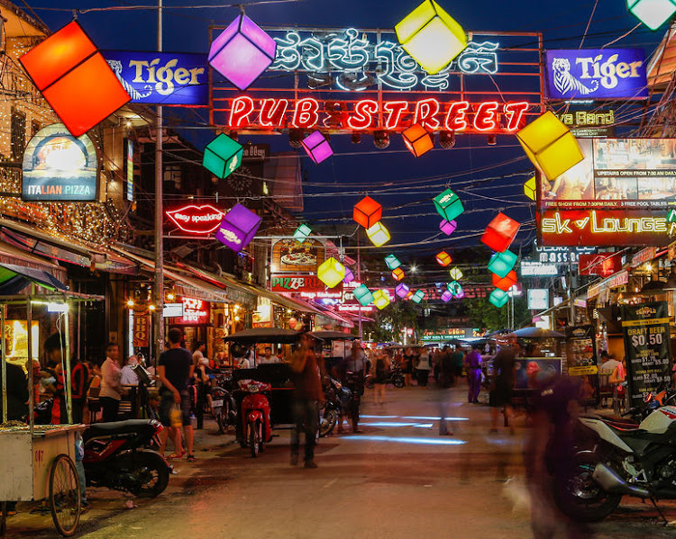 Pub Street in Siem Reap, Cambodia, offers an array of bar-hopping and snacking opportunities.