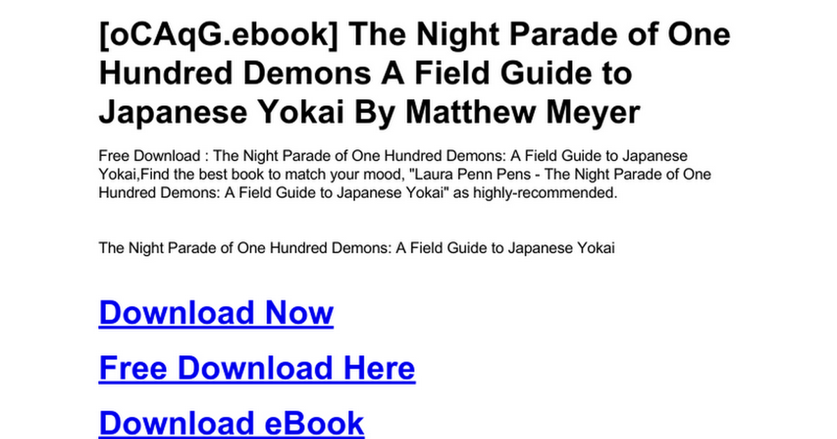 The night parade of one hundred demons a field guide to japanese the night parade of one hundred demons a field guide to japanese yokaic google docs fandeluxe Image collections