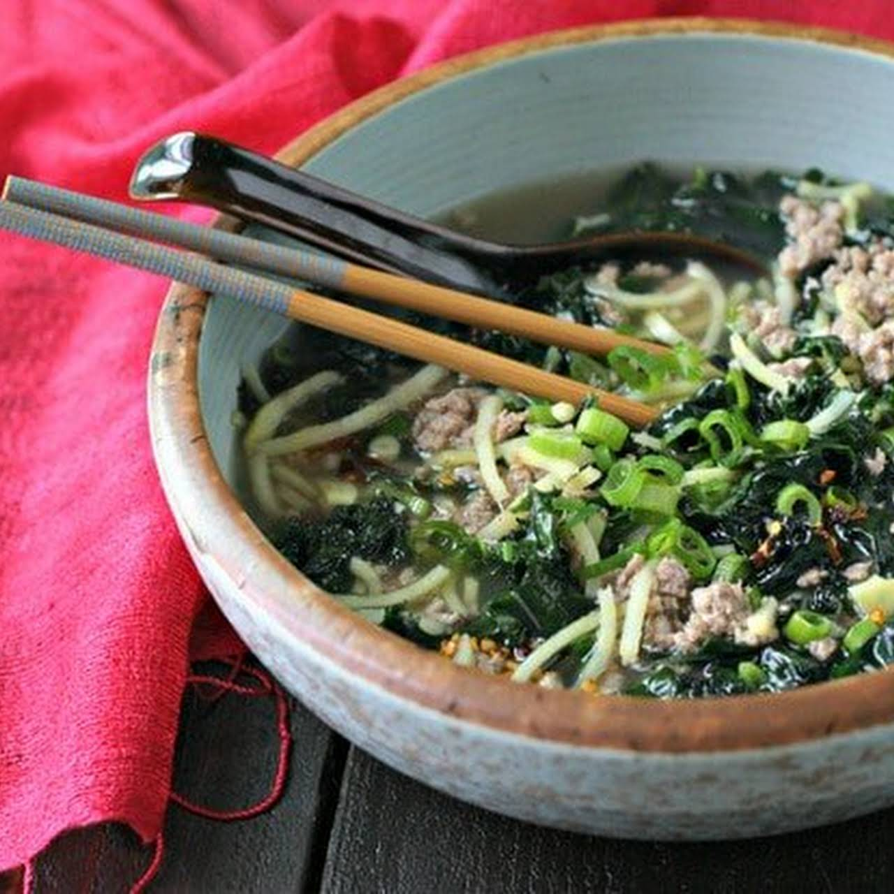 Spicy Pork Soup With Kale and Japanese Sweet Potato