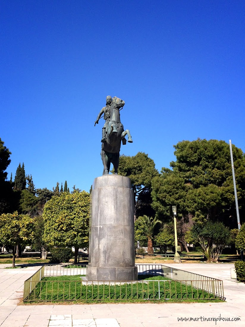 A statue near botanical gardens, Athens, Greece