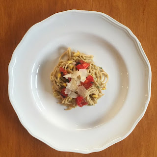 Avocado Pasta With Charred Corn And Tomatoes