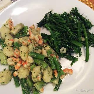 Gnocchi with Shrimp, Asparagus, and Pesto.