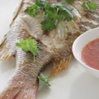 Grilled Fish With Garlic And Chilli Sauce.