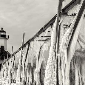 Icy Coat by Greg Croasdill - Black & White Landscapes ( lake michigan, winter, ice, lighthouse,  )