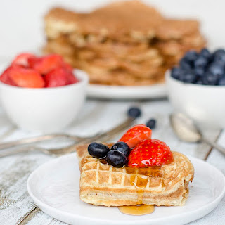 Waffles With Maple Syrup And Buttermilk.