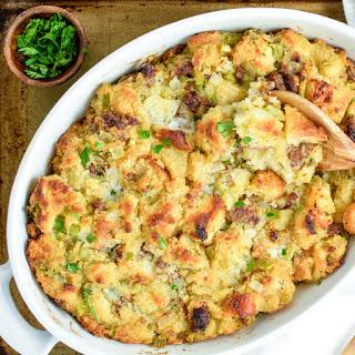 Focaccia, Cornbread and Andouille Sausage Stuffing