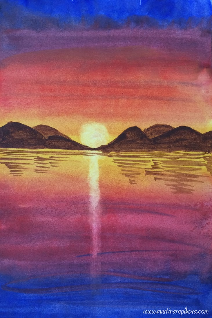 Sunset reflections (a watercolour painting)