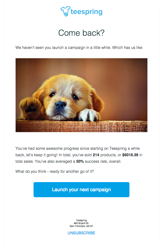 Teespring marketing email.
