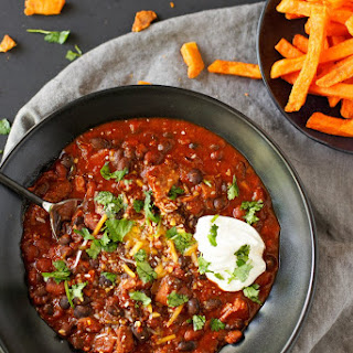 Beer Braised Beef and Bean Chili with Sweet Potato Fries