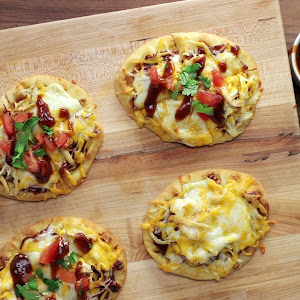 Barbecue Chicken Naan Pizzas