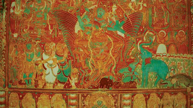 Gajendra Moksha, Krishnapuram Palace. Mural art in Kerala