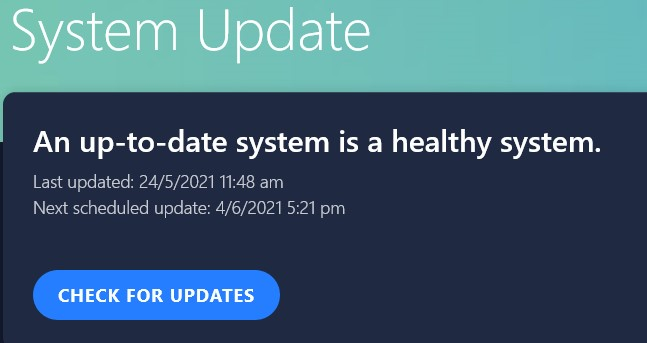 System Updates page in Vantage