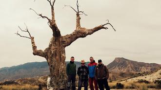 Miembros de Almeríacine junto al árbol de 'El árbol del Penitente' en el Desierto de Tabernas.