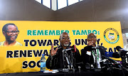 Outgoing ANC Secretary General, Gwede Mantashe address the media for the last time as the ANC Secretary General as Zizi Kodwa looks on during the 54th ANC National Elective Conference.