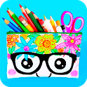How to make school supplies icon