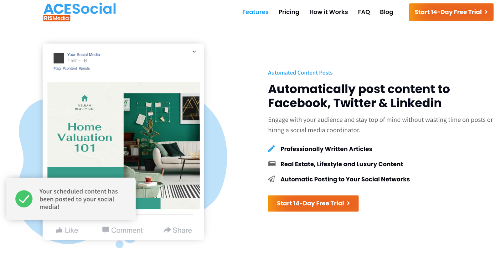 Ace Social landing page for content to Facebook, Twitter, and Linkedin