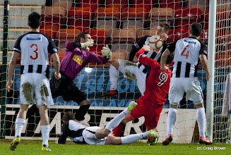 Photo: Dunfermline Athletic v Raith Rovers Irn Bru First Division East End Park 2 January 2013  Ryan Wallace is hit by the ball on the hand on the line(c) Craig Brown | StockPix.eu